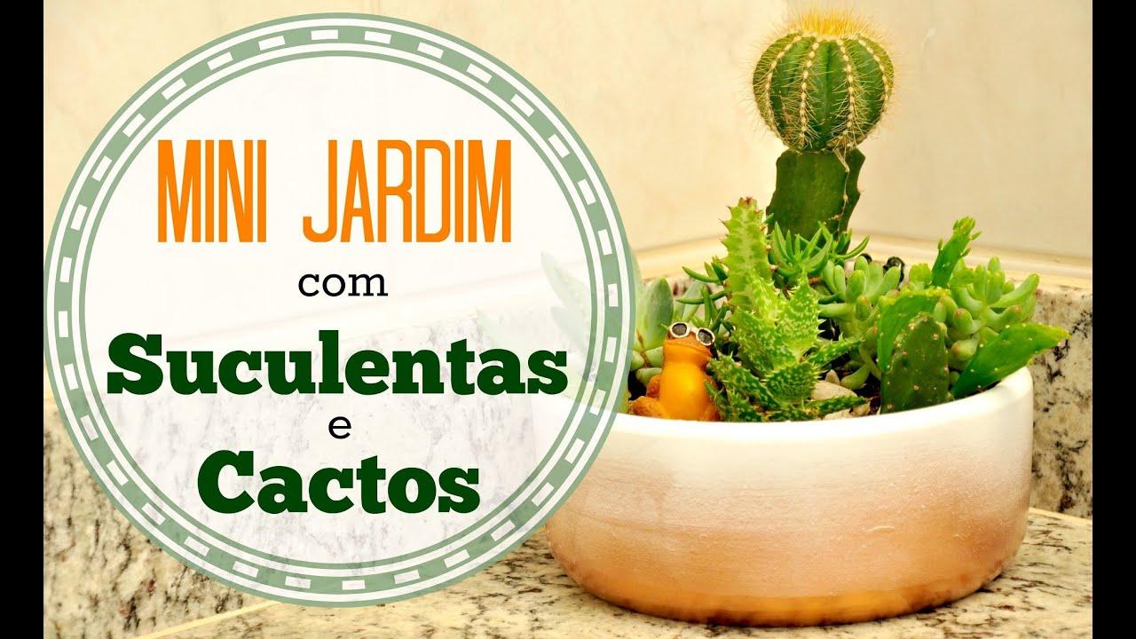 mini jardim de cactus:MINI JARDIM DE SUCULENTAS E CACTOS DIY