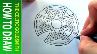 How to Draw Celtic Patterns 45 - Celtic Cross with Triskeles - Leeds 3of5