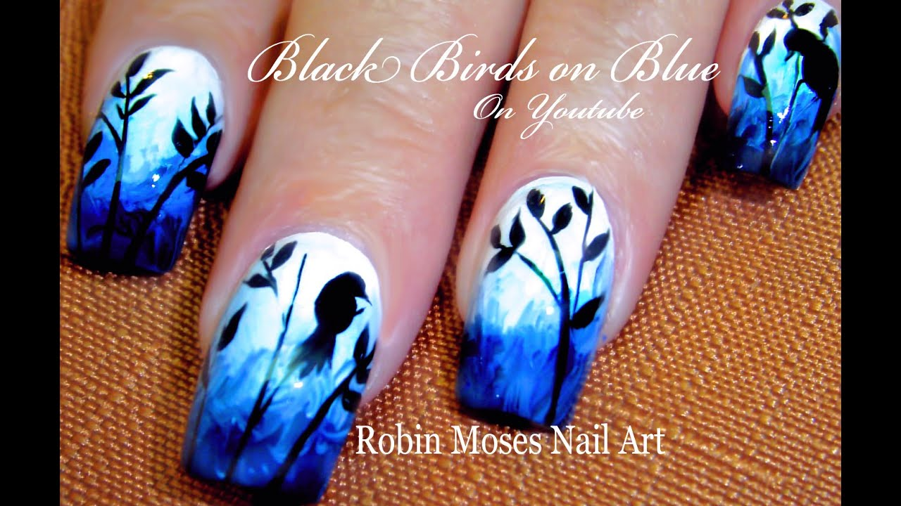 Bird Nails | DIY Birds on Blue Nail Art Design Tutorial ...