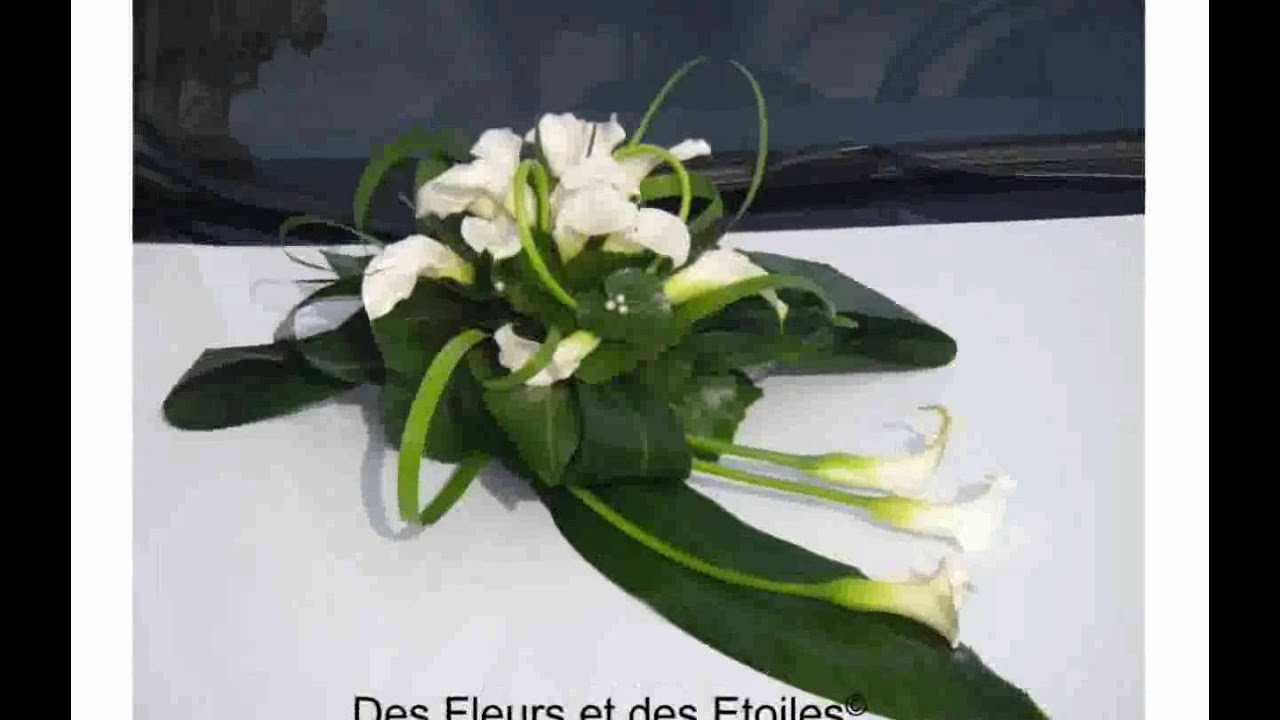 Decoration voiture mariage youtube for Composition florale pour table