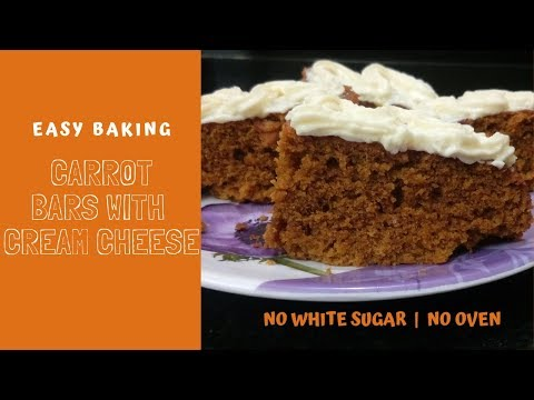 Carrot Bars With Cream Cheese Icing | Easy Baking Carrot Cake In Tamil | No Oven No white Sugar
