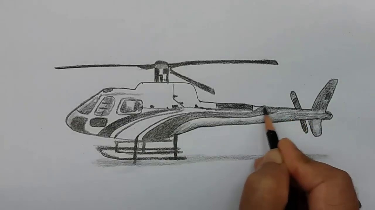 How To Draw Helicopter Step By Step Youtube
