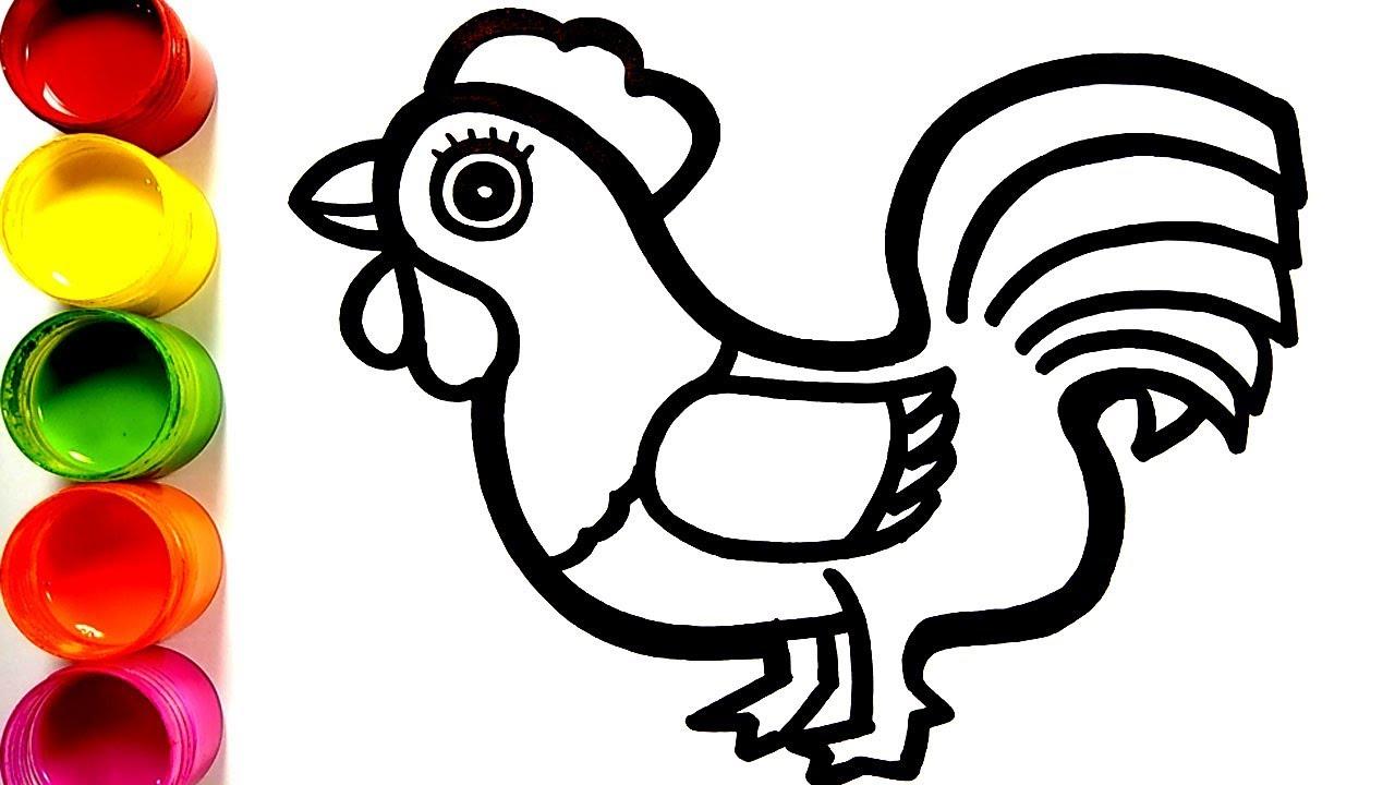 Cara Menggambar Ayam Jago Dan Mewarnai Mainan Mewarnai