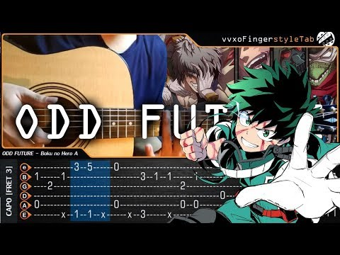 Boku no Hero Academia 3 OP - ODD Future - Fingerstyle Guitar Cover With TAB Tutorial (Easy)
