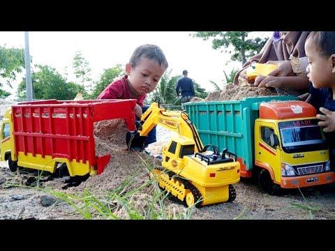 Mobil Truk Kayu Muat Pasir, Eskavator Remote Control   Mainan Anak Miniatur Truk Kayu
