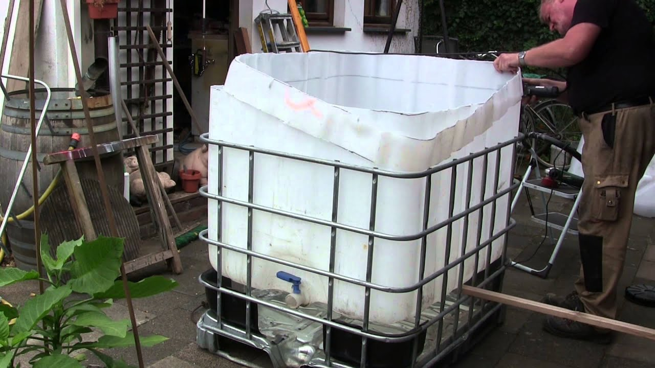 pool bau aus einem 1000 l ibc tank container youtube. Black Bedroom Furniture Sets. Home Design Ideas