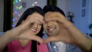 Closeup shot of Indian lovers making a heart shape with hands - valentine's day