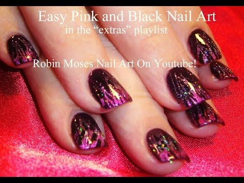 Nail Art Tutorial  Foil And Glitter Technique  Easy Diy Pink Black Nails