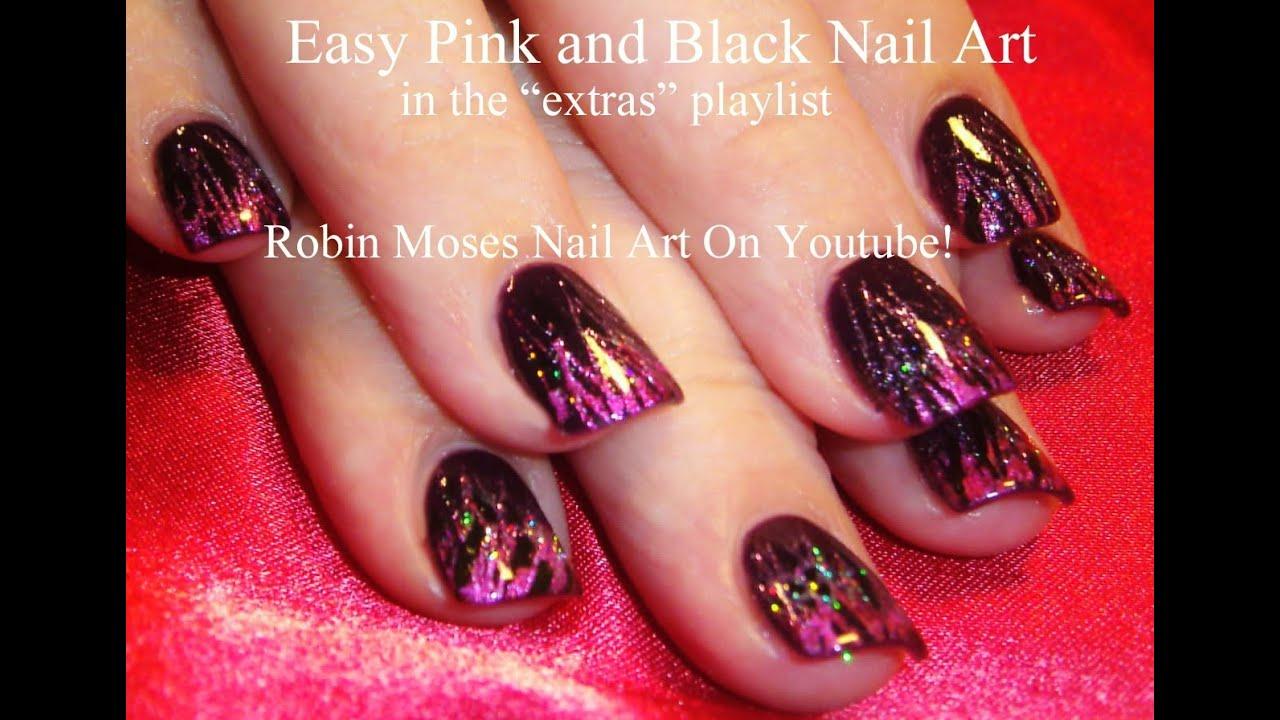 Fingernails Glitter Pink Black Nail Art Tutorial Foil And Technique Easy Diy Nails Youtube 1279x895