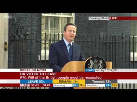 U.K. Prime Minister David Cameron Quits After Brexit Referendum Loss: Full Statement
