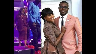 Funke Akindele Stand Up From Her Sit And Chase Her Husbands Off Falz Stage Holding Her Shoes
