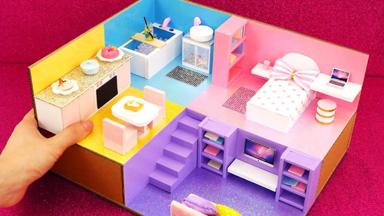 DIY Miniature Cardboard House #34  rainbow bathroom, kitchen, bedroom, living room for a family