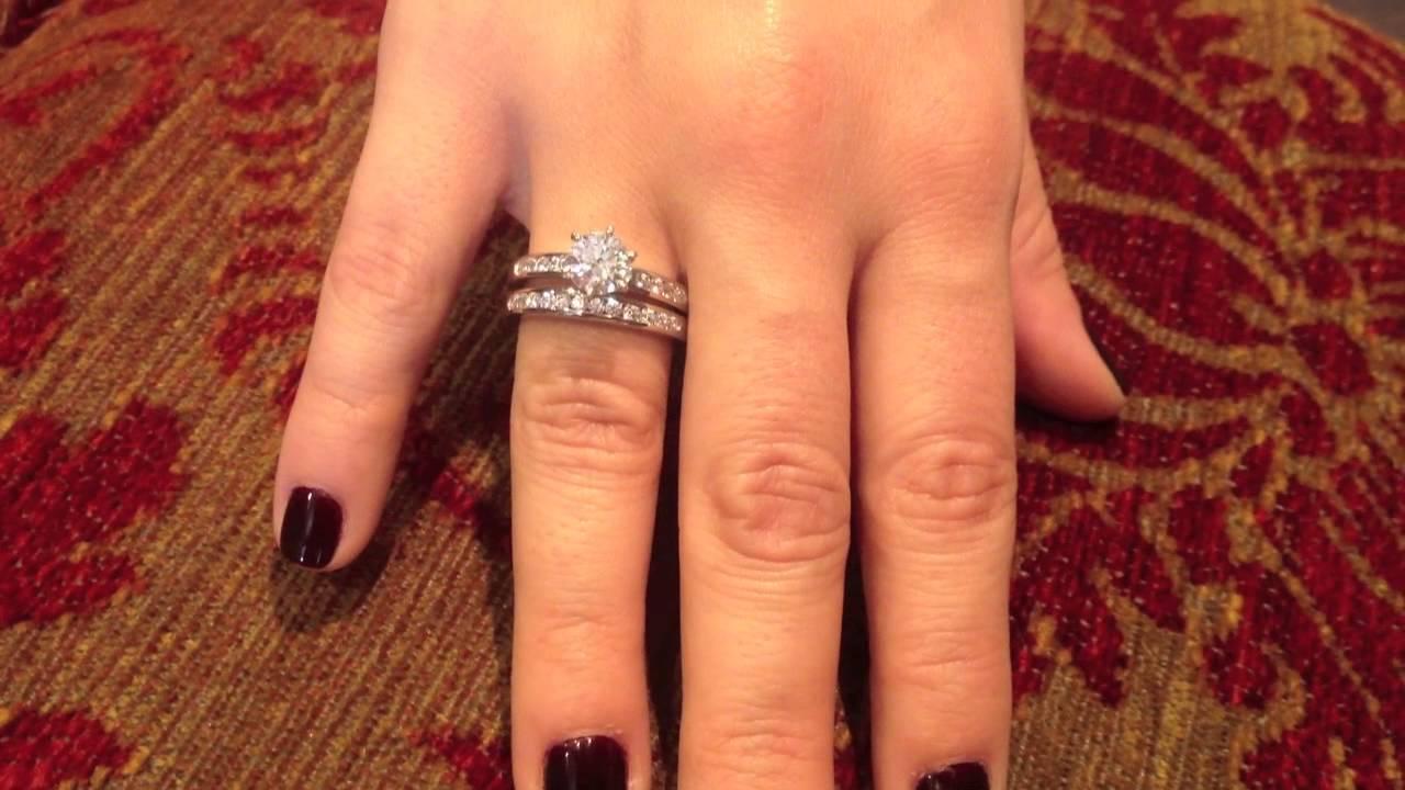 988d7e2b1 1.25 CZ Tiffany style white gold ring set - YouTube