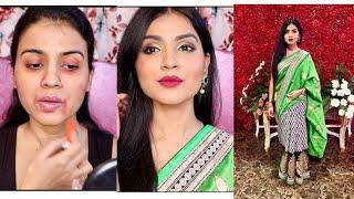 GRWM : INDIAN WEDDING GUEST MAKEUP 2018 | Shadi/Party Me Makeup Kaise Kare | Green Smokey Eye Makeup