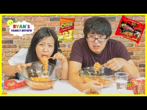 Thumbnail: Extreme Spicy Noodle Challenge 2x! Loser drinks Hot Sauce with Ryan's Family Review!