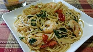 Garlic Shrimp With Kale And Tomatoes Over Linguine-In The Kitchen With Sandy Episode 79