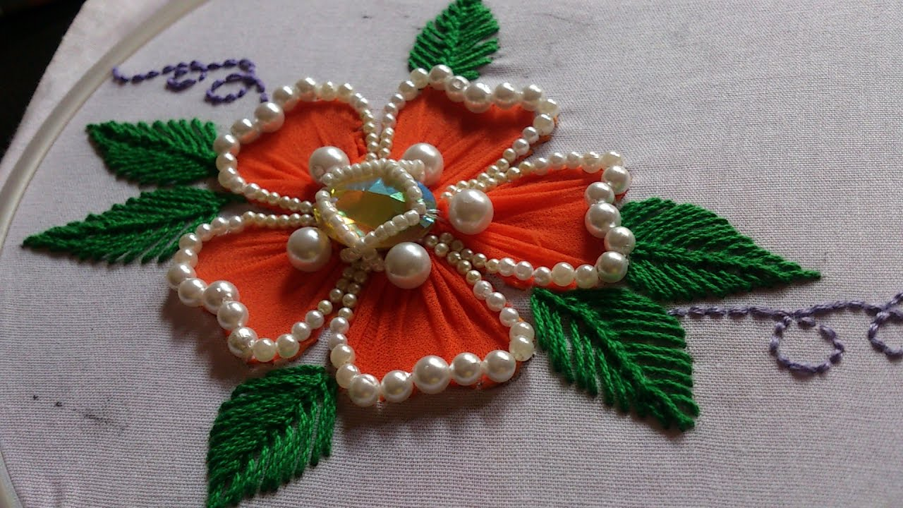 Hand Embroidery. Flower Stitch Design. Beads Work. - YouTube