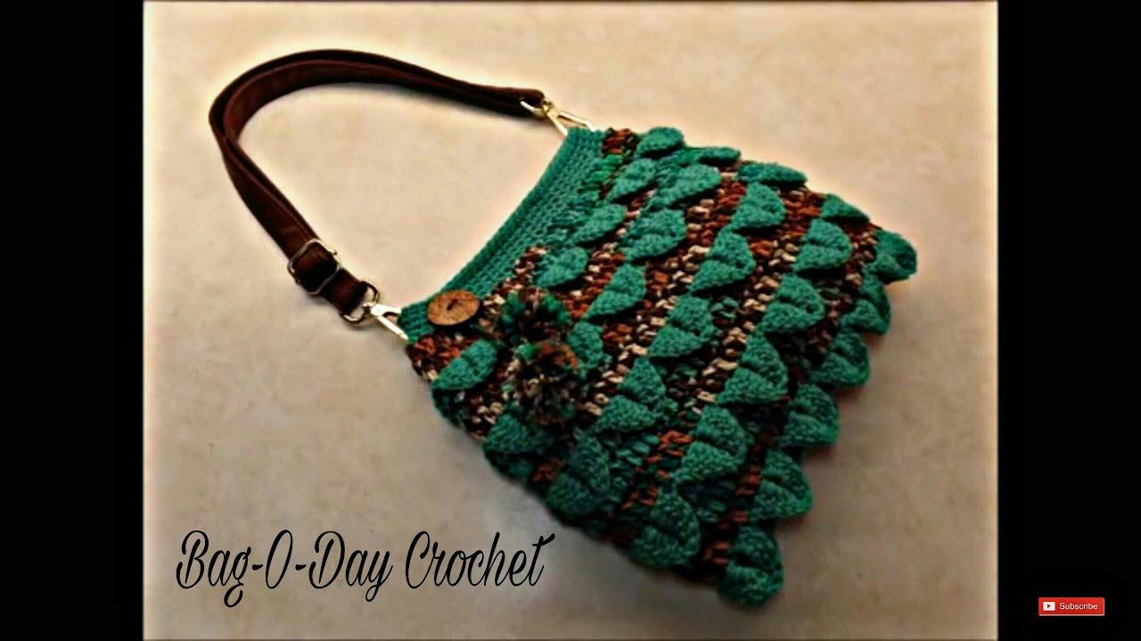 CROCHET How To  Crochet Crocodile Stitch Handbag Purse TUTORIAL  354  supersaver DYI 30a2ebe5ed8eb