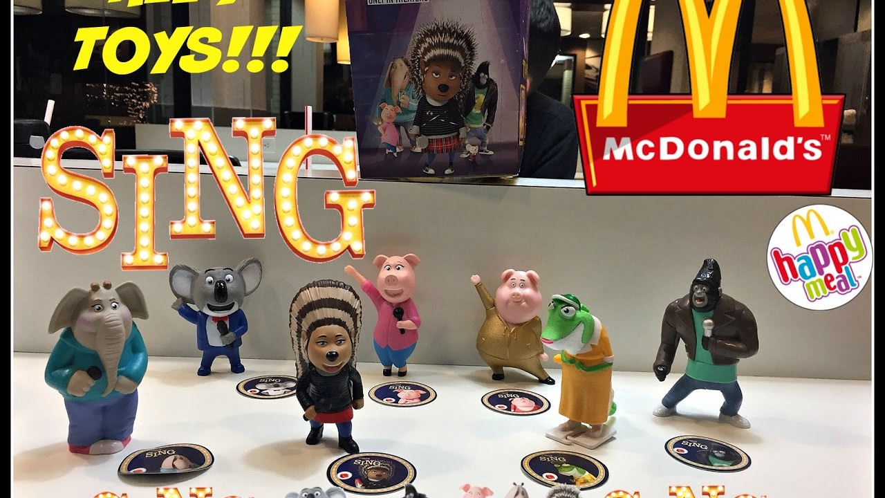 Sing Movie Mcdonalds Happy Meal Toys December 2016 All 7
