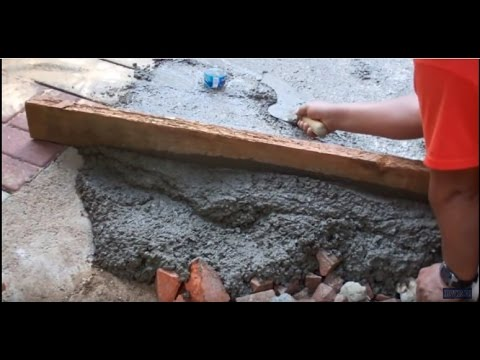 Pouring a 60' Foot Concrete Sidewalk by Hand