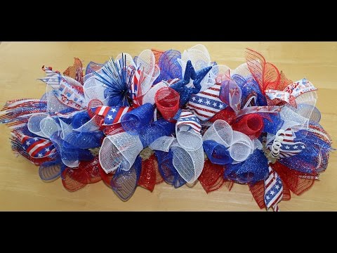 How to make a deco mesh swag for a mailbox, door or centerpiece-Patriotic