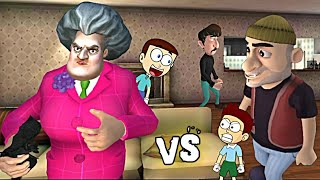 Scary Teacher 3D vs Scary Robber Home Clash | Shiva and Kanzo Gameplay