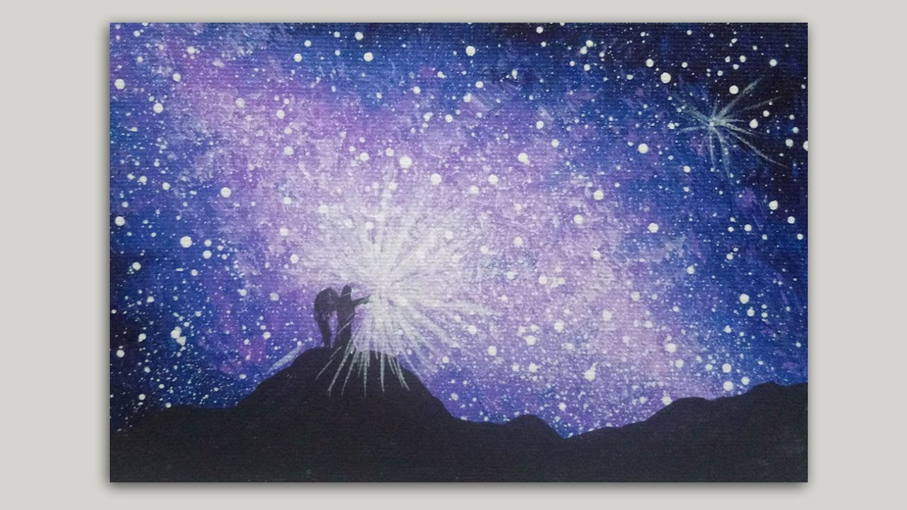 Galactic Sky And Angel Acrylic Painting On Canvas Silhouette Painting Tutorial Youtube