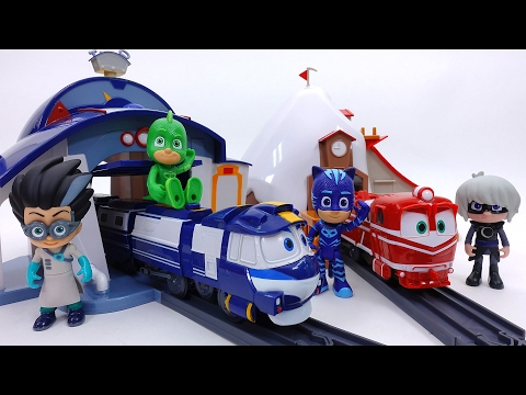 Express Robot Trains Give PJ Masks a Ride~! Kay & Alf House & Rail Set