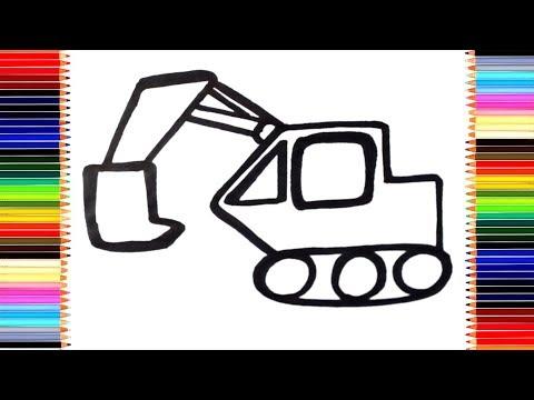 Как нарисовать ЭКСКАВАТОР / мультик раскраска ЭКСКАВАТОР для детей / Раскраски малышам