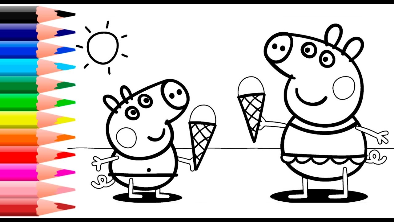 Peppa Pig Coloring Pages For Kids - Peppa Pig Summer Coloring Book ...