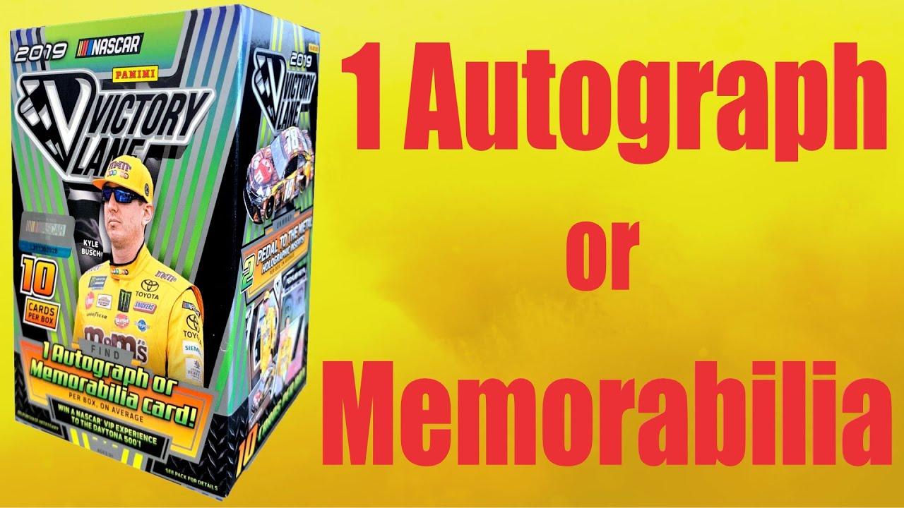 2019 Panini Victory Lane NASCAR Racing BLASTER box 10 cards including ONE Memorabilia or Autograph card