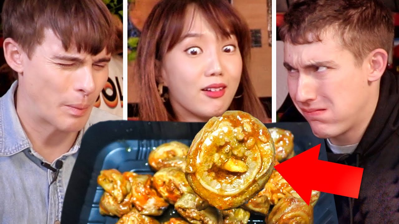 Trying EXTREME Korean 7-Eleven Foods!? Spicy Intestines + Chicken Feet!!