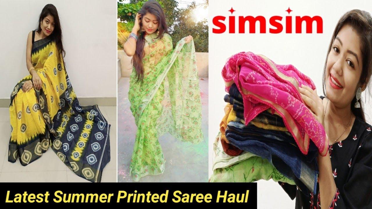 Simsim Summer Printed Saree Haul | Try On Under 599/- || Krrish Sarkar