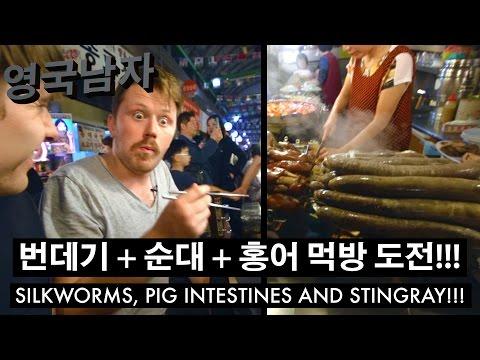 한국 처음 가본 영국인!! 광장시장에서 번데기+순대+홍어 먹방 도전!!!  //  Silk Worms and Stingray at a Korean Market!!!