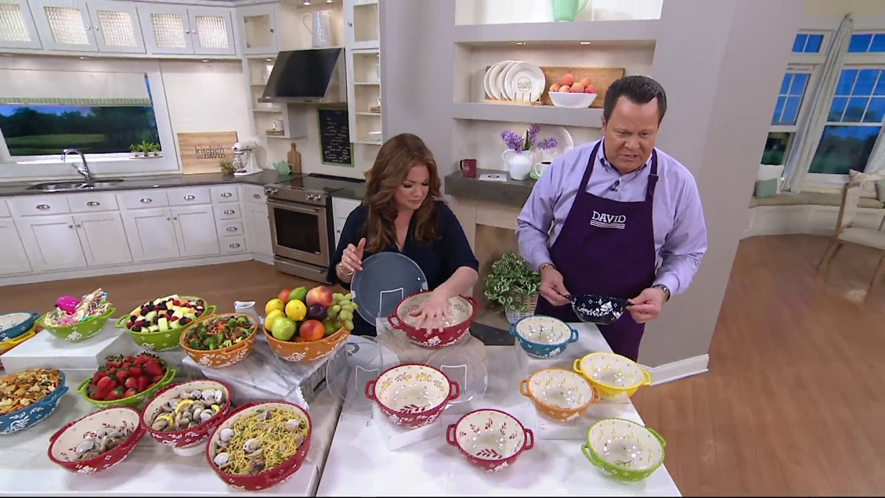 Valerie Bertinelli 3 Piece Hand Painted Bowl Set W Lids On Qvc Youtube