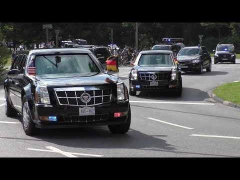 [52 Fahrzeuge] Kolonne US-Präsident Trump zum G20-Gipfel in Hamburg