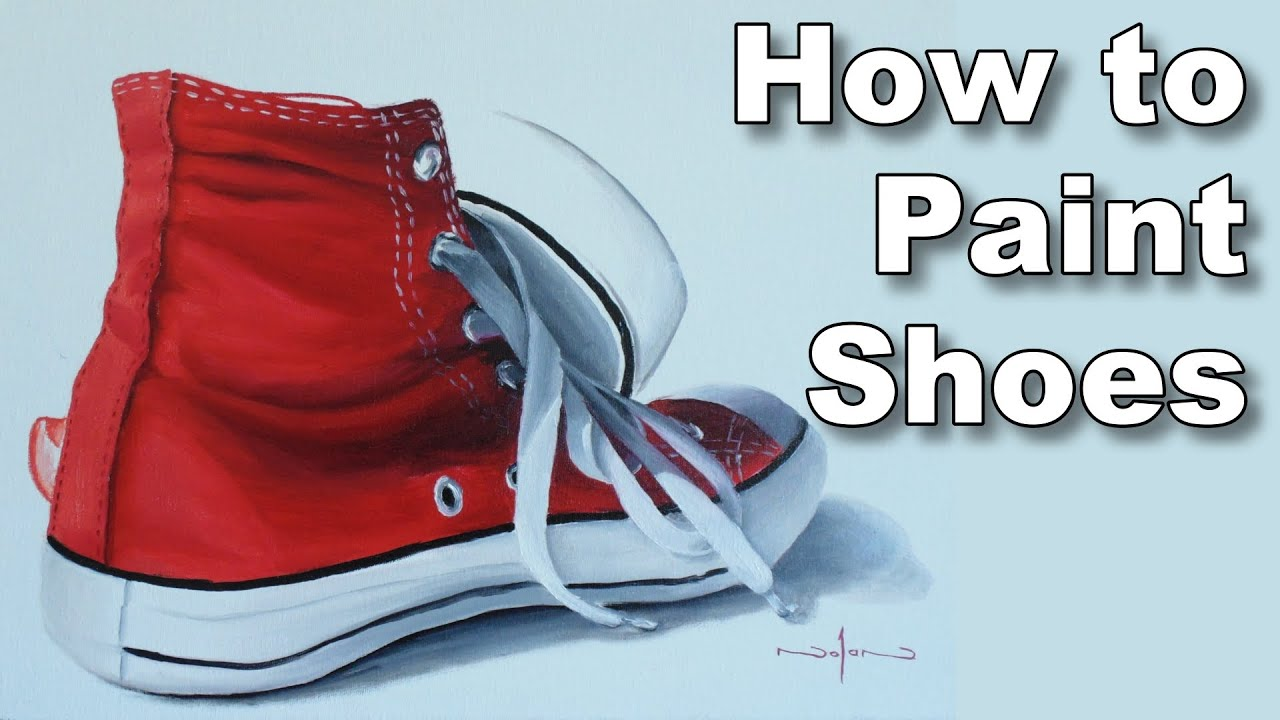 how to paint shoes in oil paint sneakers time lapse painting lessons  YouTube