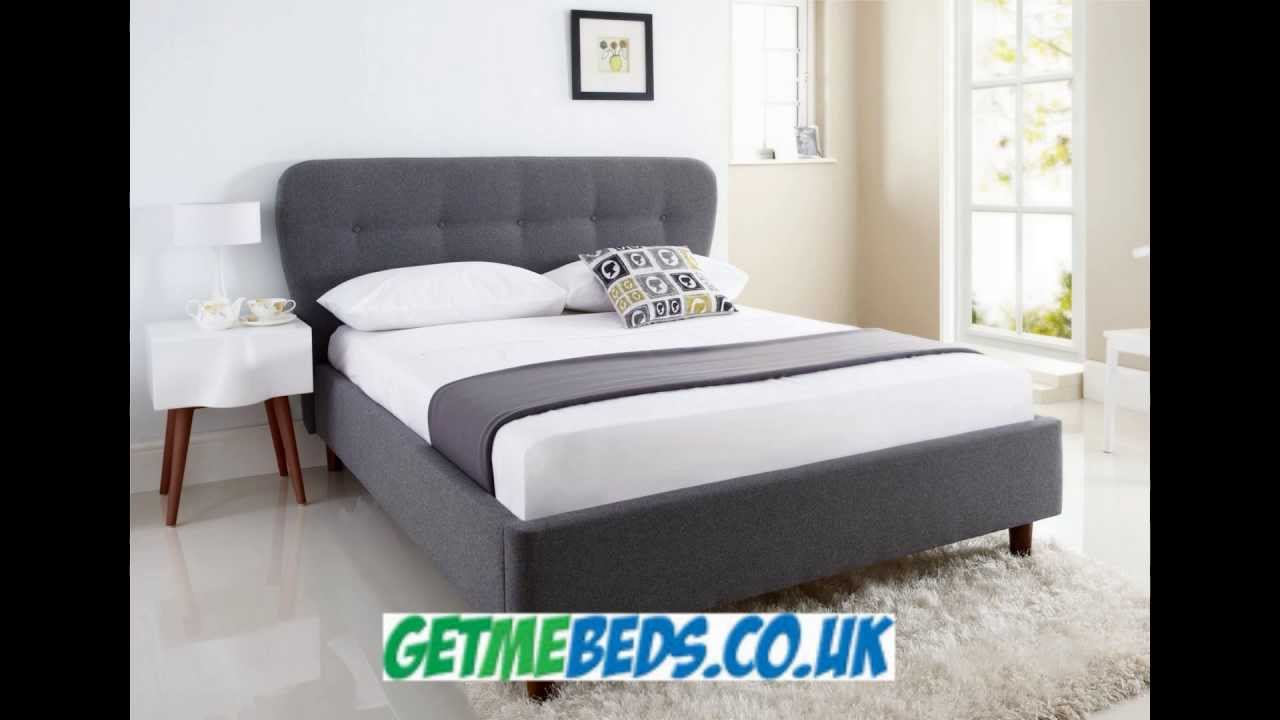oslo black upholstered bed frame youtube
