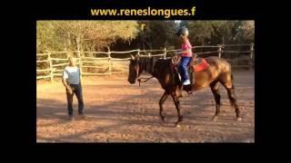 reneslongues Débourrage Diva jument espagnole de 3 ans, Mathilde et Gaëlle