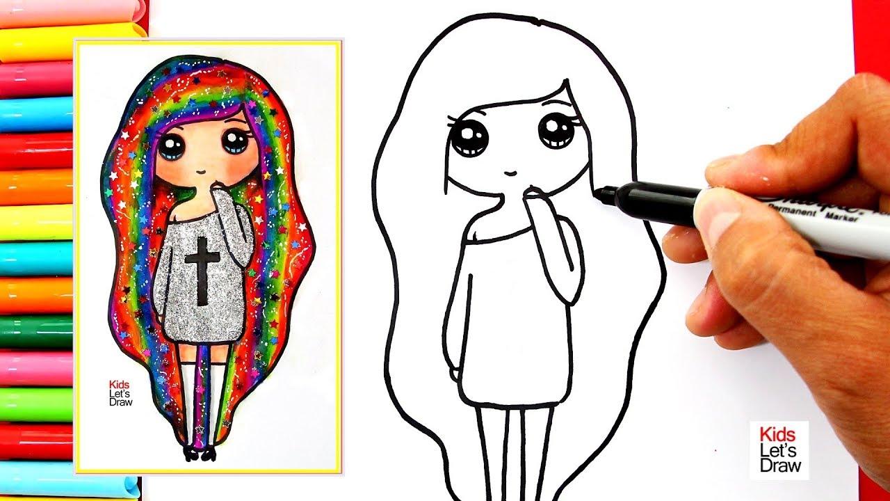 Como Dibujar Y Colorear Una Chica Tumblr Arcoiris How To Draw A