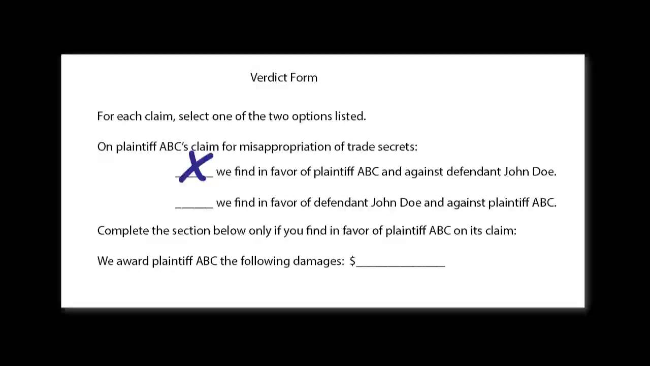 Filling in the Verdict Form For the Jury During Closing - YouTube