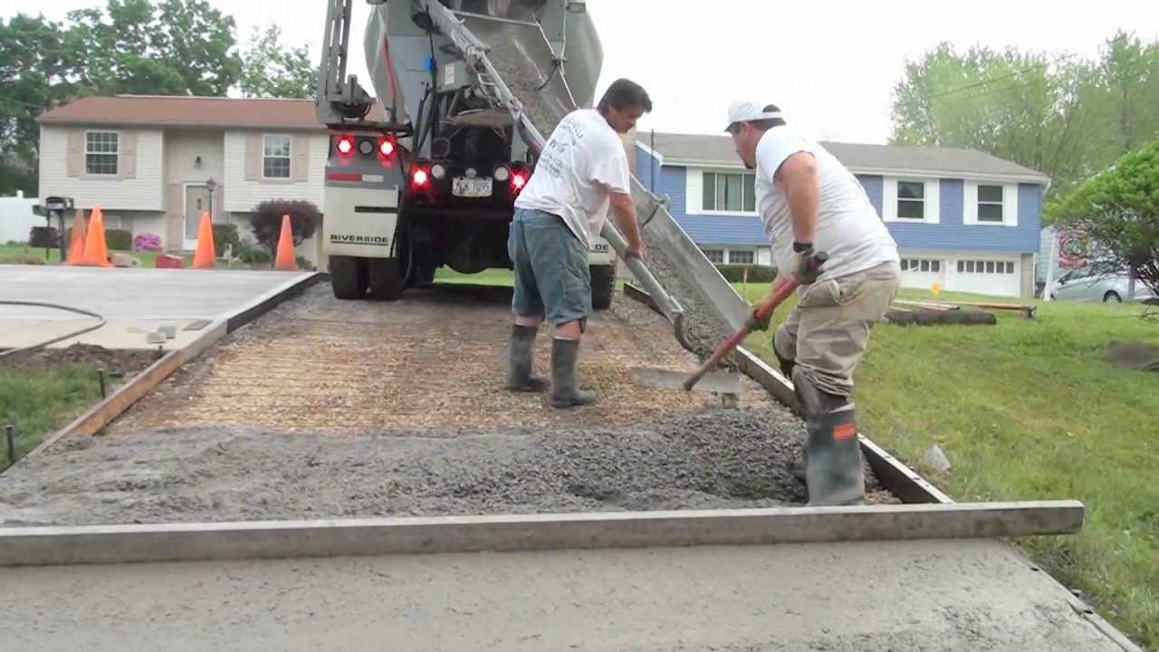 How to pour a concrete driveway short version youtube for How to pour a concrete driveway