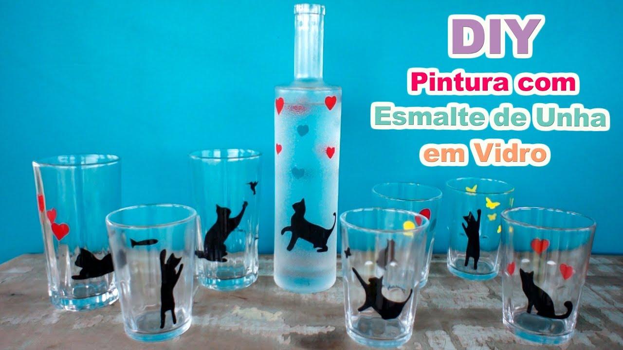 Resultado de imagem para imagem DIY: Pintura com esmalte de unha em copo de vidro