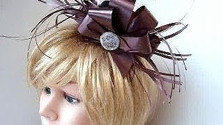 Royal wedding top hat fascinator diy, Bridal Accessories, how to, Feathery Ribbon Headpiece,
