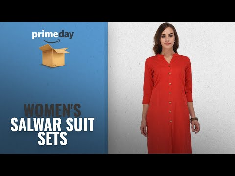 WOMEN\'S SALWAR SUIT SETS Prime Day 2018: Attire Fashion Self Design Cotton Kurti/Kurta