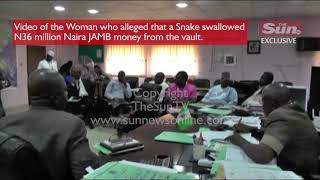 Exclusive video of the woman who alleged that snake swallowed N37million JAMB money from the vault