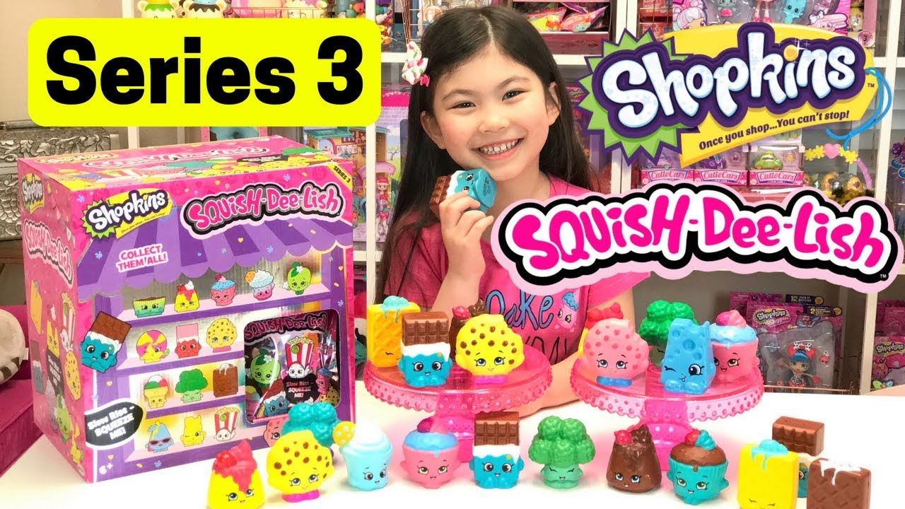 NEW SERIES 3 SHOPKINS SQUISH DEE LISH Squishies FULL BOX Squish-Dee-Lish Slow Rise Squishy ...
