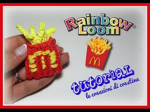 Tutorial Patatine Fritte del Mc Dondald's 3D con Elastici RAINBOW LOOM - DIY French Fries Charm