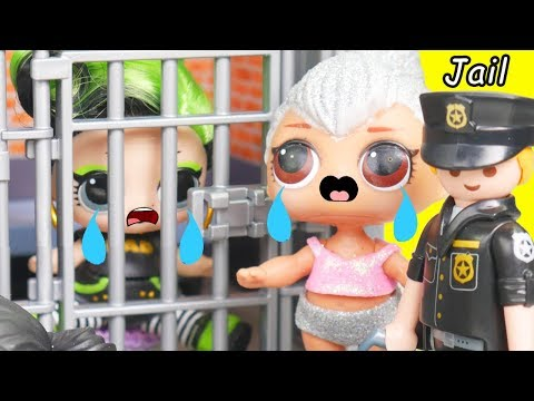 Spice Family Goes to LOL Surprise Dolls Jail with Lils Fuzzy Pets | Toy Egg Videos