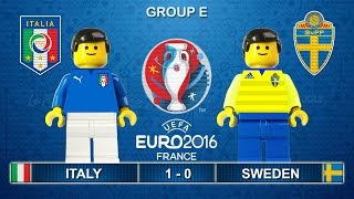 Euro 2016 - Italy vs Sweden 1-0 Lego Football Goals and Highlights ( Italia - Svezia )